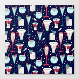 Holiday Cocktails Blue Canvas Print