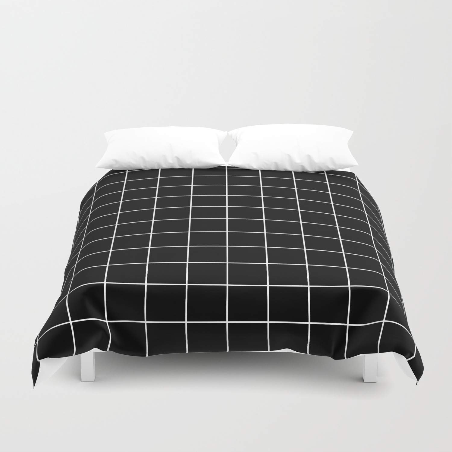 Grid Line Stripe Black And White Minimalist Geometric Duvet Cover