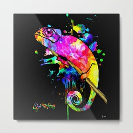Chameleon Splash Metal Print