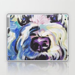 Golden Doodle Dog Portrait Pop Art painting by Lea Laptop & iPad Skin