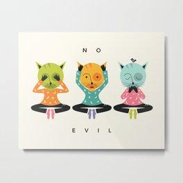 THREE WISE CATS (NO EVIL) Metal Print