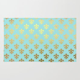 Royal gold ornaments on aqua turquoise background Rug