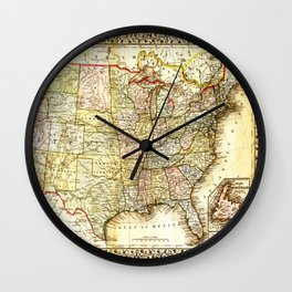 1867 USA Map Wall Clock