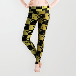 Black and Gold Checkerboard Scales of Justice Legal Pattern Leggings