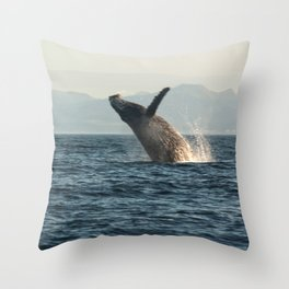 Breaching Whale Photography Print Throw Pillow