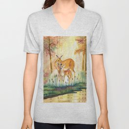Mom and Little Deer Unisex V-Neck