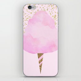Pink & Gold Glitter Cotton Candy iPhone Skin