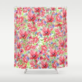 Blanket of Poppies Floral Print Shower Curtain
