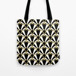 Black, White and Gold Classic Art Deco Fan Pattern Tote Bag