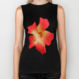 Gorgeous Red And Gold Hawaiian Hibiscus Flower No Text Biker Tank