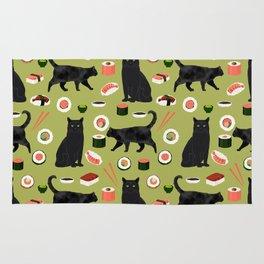 Black cat sushi cat breeds cat lover pattern art print cat lady must have Rug