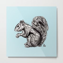 Blue Woodland Creatures - Squirrel Metal Print