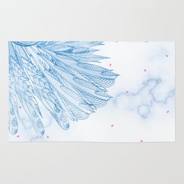 Beautiful Feathers on Blue Marble Design Rug