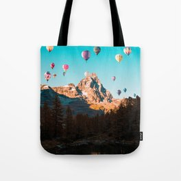 Hot Air Balloons over Matterhorn Tote Bag