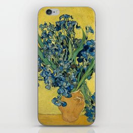 Still Life: Vase with Irises Against a Yellow Background iPhone Skin