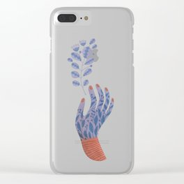 Hand painted Purple Flower Hand holding a fantasy flower Clear iPhone Case