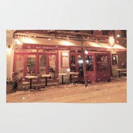 Cornelia St Cafe in the snow Rug