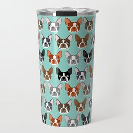 Boston Terrier heads cute pet portraits terrier owner must have gifts hipster dog breeds cute puppy Travel Mug