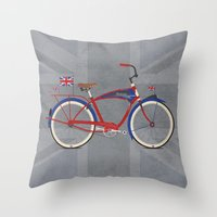 brompton Throw Pillows featuring British Bicycle by Wyatt Design