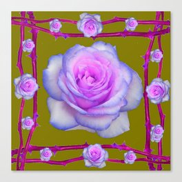 PINK-BLUE TINGED ROSES ON KHAKI COLOR Canvas Print