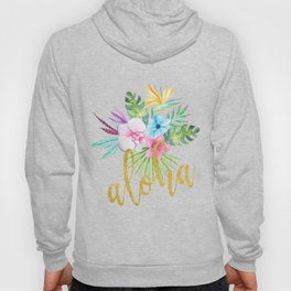 Hawaiian multicolored floral bouquet with faux gold aloha brush script Hoody