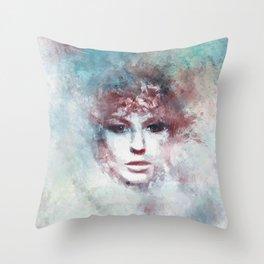 Girl face painting ART Throw Pillow