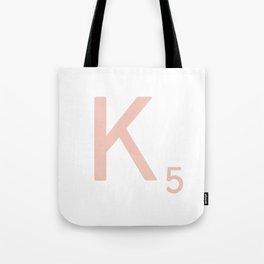 Pink Scrabble Letter K - Scrabble Tile Art and Accessories Tote Bag
