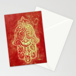 Hamsa in Red Stationery Cards