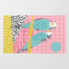 Hottie - throwback retro 1980s 80s style memphis dots bird art neon cool hipster college dorm art Rug