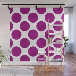 Fuchsia Polka Dot Wall Mural
