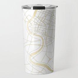 Bangkok Thailand Minimal Street Map - Gold Metallic and White II Travel Mug