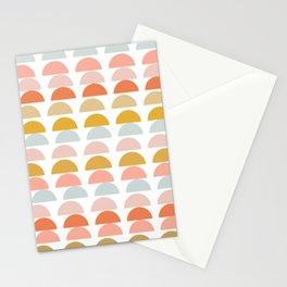 Geometric Half Circles Pattern in Earth Tones Stationery Cards