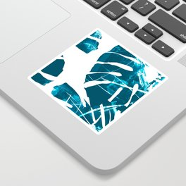 Monstera Leaf Blue Sticker