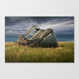 Abandoned and Forlorn The Jamie G. Ship Wreck lies on Prince Edward Island Canvas Print
