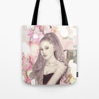 ariana grande Tote Bags featuring Ariana by Share_Shop