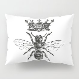 Queen Bee | Vintage Bee with Crown | Black and White | Pillow Sham