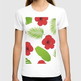 Red hibiscus and palm leaves seamless pattern. T-shirt