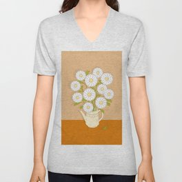 bouquet of white camomiles in the vase Unisex V-Neck