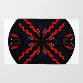 Luxury ornaments black red Rug