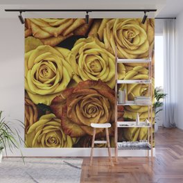 Golden Yellow Roses Pattern (Color) Wall Mural