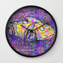 Expressive Bright Yellow V W Beetle created under the influence of Caffine by annmariescreations Wall Clock