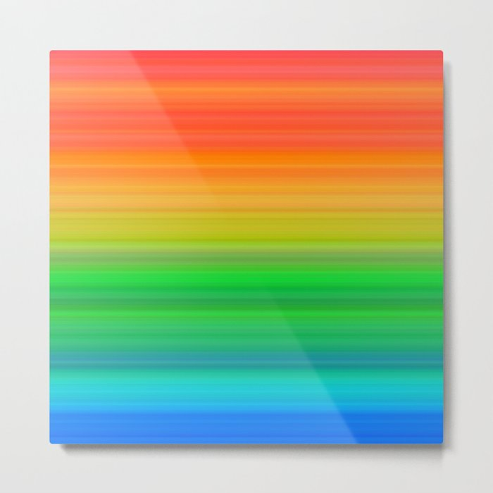 Bright Rainbow Stripes Metal Print