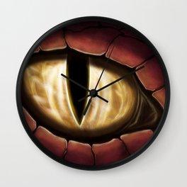 Gold Dragon Eye Fantasy Painting Colorful Digital Illustration Wall Clock