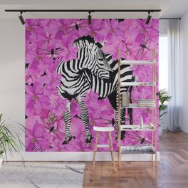 ZEBRA AND PINK FLOWERS and DRAGONFLIES Wall Mural