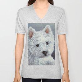 Dog 137 White Westie Unisex V-Neck