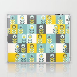 Scandinavian florals 04, teal, yellow and grey Laptop & iPad Skin