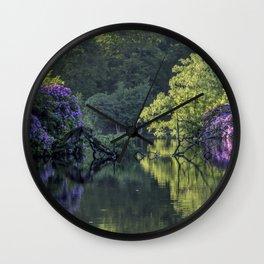 Summer lake reflections Wall Clock