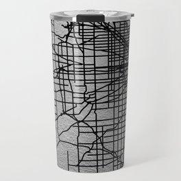 Black and white Chicago map Travel Mug
