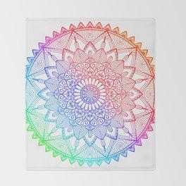 Rainbow Mandala Doodle Throw Blanket