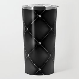 Black Quilted Leather Travel Mug